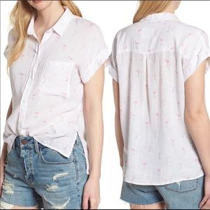 Rails Whitney Flamingo Print Linen Blend Shirt XS